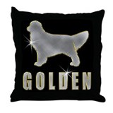 Bling Golden Retriever Throw Pillow