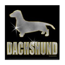 Bling Dachshund Tile Coaster
