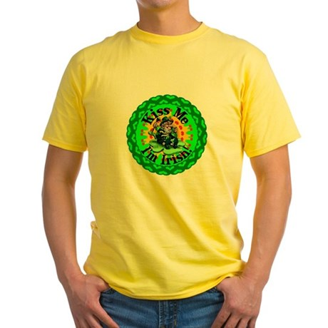 Kiss Me Irish Leprechaun Yellow T-Shirt