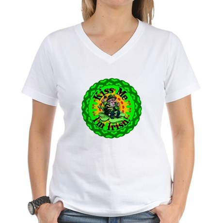 Kiss Me Irish Leprechaun Women's V-Neck T-Shirt