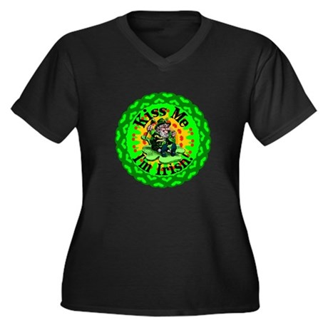 Kiss Me Irish Leprechaun Women's Plus Size V-Neck