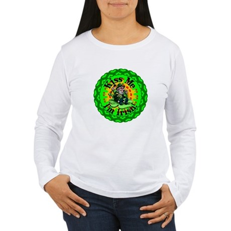 Kiss Me Irish Leprechaun Women's Long Sleeve T-Shi