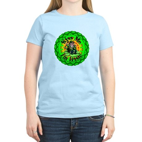 Kiss Me Irish Leprechaun Women's Light T-Shirt