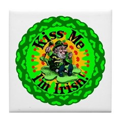 Kiss Me Irish Leprechaun Tile Coaster