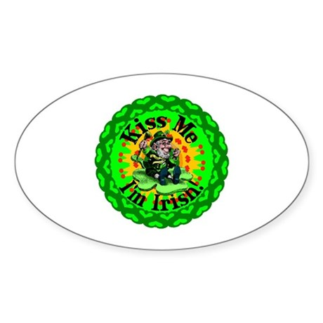 Kiss Me Irish Leprechaun Oval Sticker