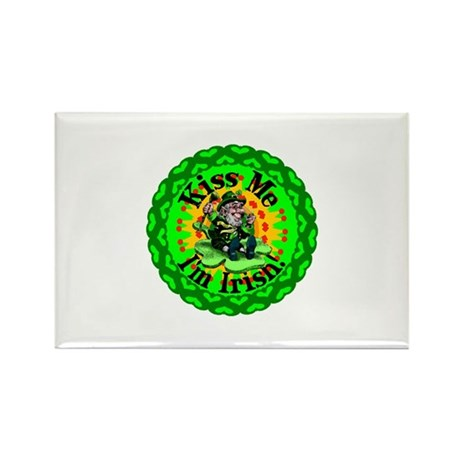 Kiss Me Irish Leprechaun Rectangle Magnet
