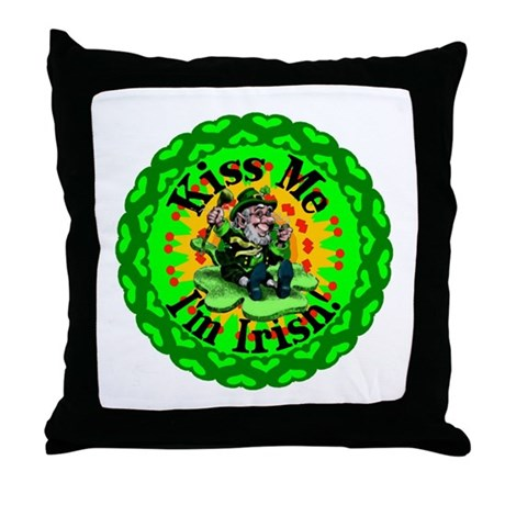 Kiss Me Irish Leprechaun Throw Pillow