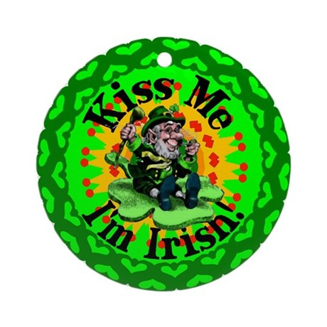 Kiss Me Irish Leprechaun Ornament (Round)