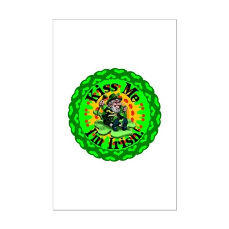 Kiss Me Irish Leprechaun Mini Poster Print
