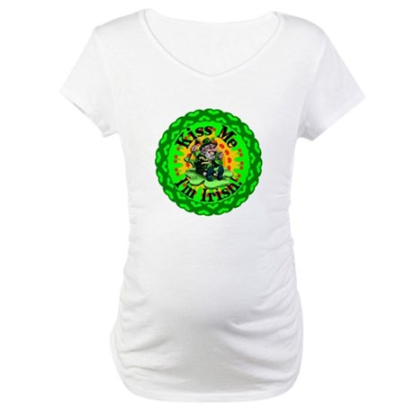 Kiss Me Irish Leprechaun Maternity T-Shirt
