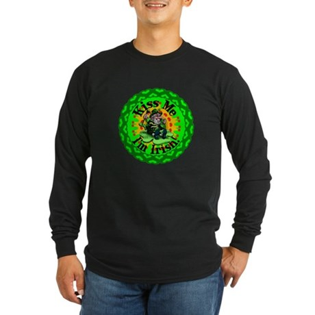 Kiss Me Irish Leprechaun Long Sleeve Dark T-Shirt