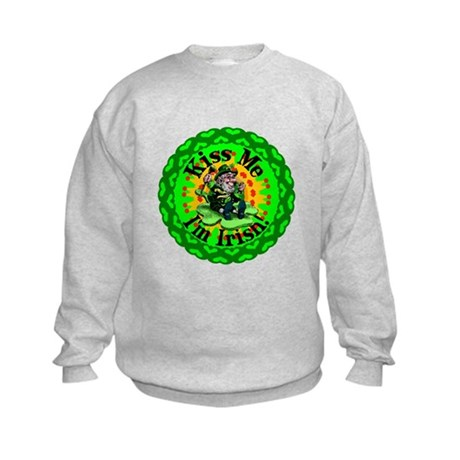 Kiss Me Irish Leprechaun Kids Sweatshirt