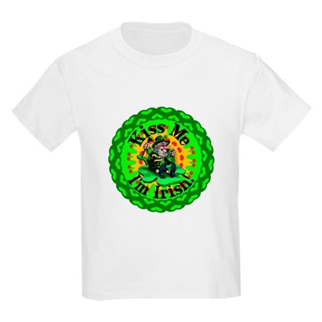 Kiss Me Irish Leprechaun Kids Light T-Shirt