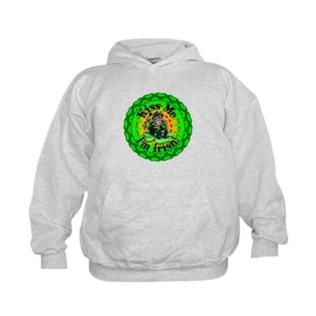 Kiss Me Irish Leprechaun Kids Hoodie