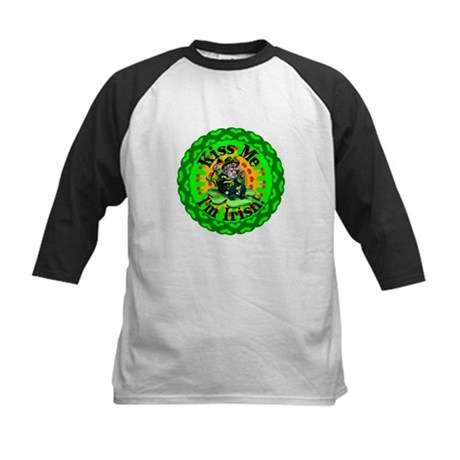 Kiss Me Irish Leprechaun Kids Baseball Jersey