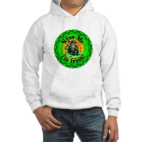 Kiss Me Irish Leprechaun Hooded Sweatshirt