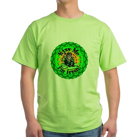 Kiss Me Irish Leprechaun Green T-Shirt