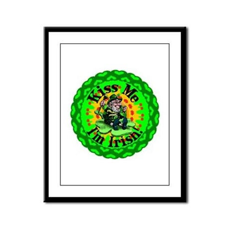 Kiss Me Irish Leprechaun Framed Panel Print