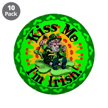 "Kiss Me Irish Leprechaun 3.5"" Button (10 pack)"