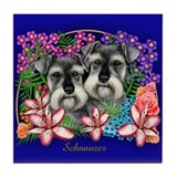 SCHNAUZER DOGS GARDEN FLOWERS Tile Coaster