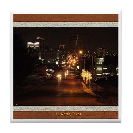 Fort Worth Skyline - Night Tile Coaster
