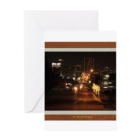 Fort Worth Skyline - Night Greeting Card