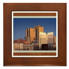 Fort Worth Skyline - Day Framed Tile