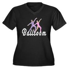 Ballroom Women's Plus Size V-Neck Dark T-Shirt
