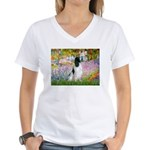 Monet's garden & Springer Women's V-Neck T-Shirt