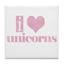 i love unicorns (pink) Tile Coaster