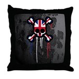 British Punk Skull Throw Pillow