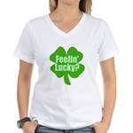 Feelin Lucky? Funny St. Patrick's Day Women's V-Ne