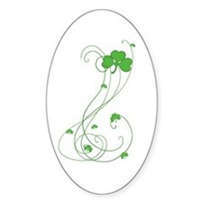 Irish Shamrock Art Oval Decal