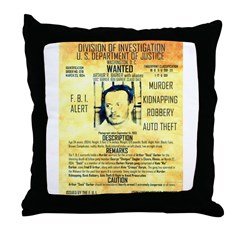 Wanted Doc Barker Throw Pillow