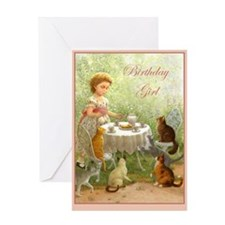 Cat Tea Party Greeting Card