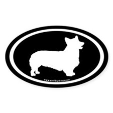 Welsh Corgi Oval (white on black) Oval Decal