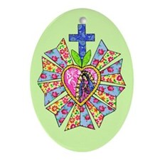 Blue Green Mary Oval Ornament