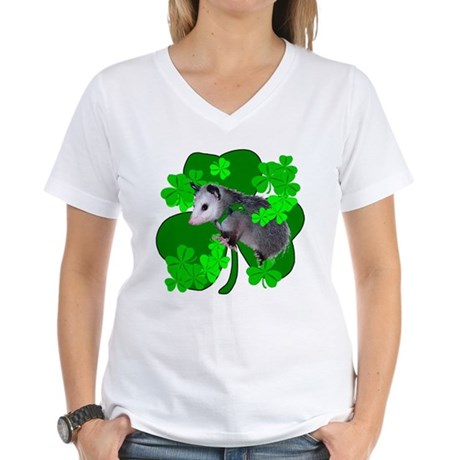 Lucky Irish Possum Women's V-Neck T-Shirt
