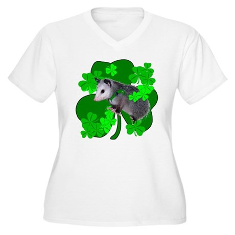 Lucky Irish Possum Women's Plus Size V-Neck T-Shir