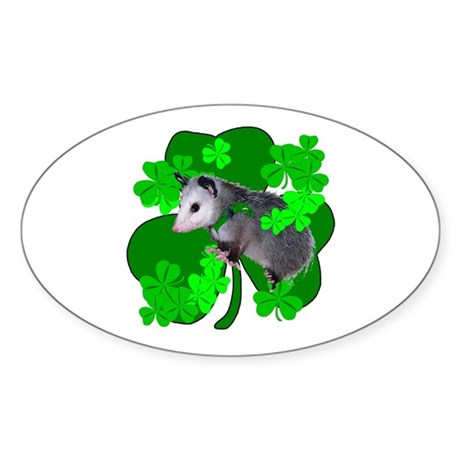 Lucky Irish Possum Oval Sticker