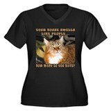 Funny Cat Women's Plus Size V-Neck Dark T-Shirt