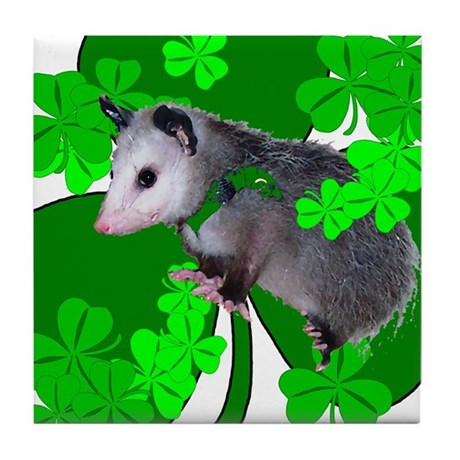 Lucky Irish Possum Tile Coaster