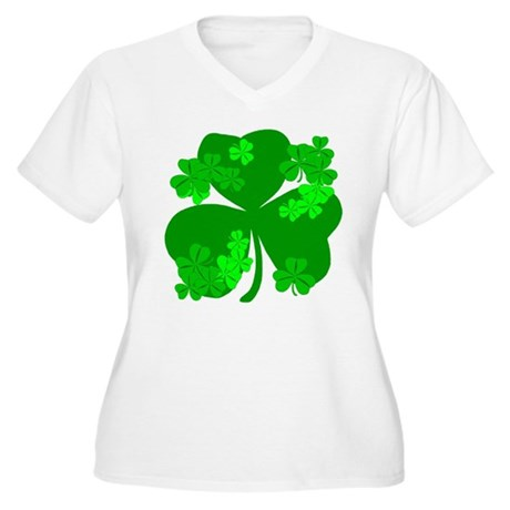 Lucky Irish Shamrocks Women's Plus Size V-Neck T-S