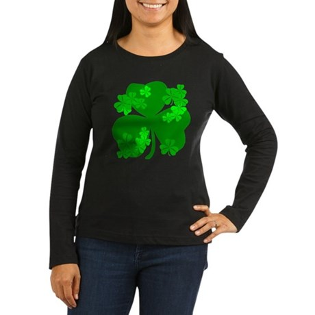 Lucky Irish Shamrocks Women's Long Sleeve Dark T-S