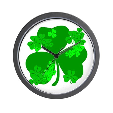 Lucky Irish Shamrocks Wall Clock