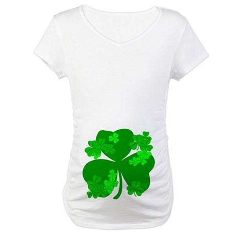 Lucky Irish Shamrocks Maternity T-Shirt