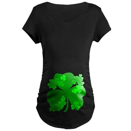 Lucky Irish Shamrocks Maternity Dark T-Shirt