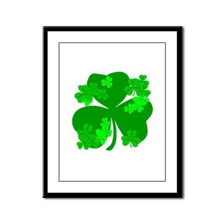 Lucky Irish Shamrocks Framed Panel Print