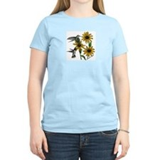 Hummingbird/Black-eyed Susan  Women's Pink T-Shirt