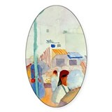 Market in Tunis Oval Decal